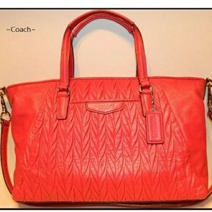 NWOT COACH bright Red Gathered Leather Conv Tote
